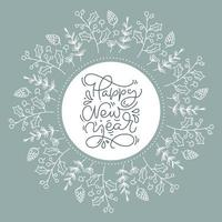 blommig krans som innehåller cirkelram med gott nytt årstext