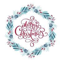 blauer und roter Winterkranz mit Weihnachtsphrase vektor
