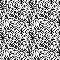 Blumen dicke Monoline nahtloses Muster vektor