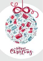 Ornament aus Winterelementen mit frohen Weihnachtstexten vektor