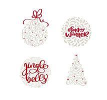 Hand gezeichnete Weihnachtselemente und trendige Feiertagstextzitate