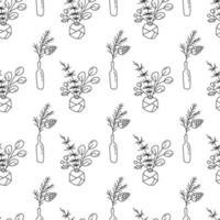 jul monoline sömlösa mönster med växter i flaskor