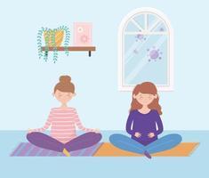 gravida kvinnor som sitter på golvet vektor