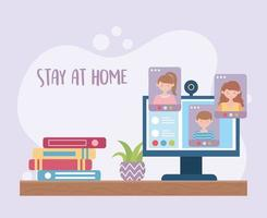 stanna hemma sammansättning med online-möte vektor