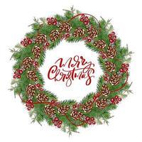 Weihnachtskranz mit Zapfen, Beeren auf immergrünen Zweigen