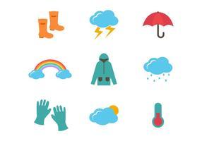 Wetter und Monsun-Vektor-Icons