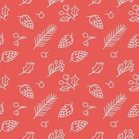 Weihnachtskegel, Zweige und Beeren Monoline nahtloses Muster