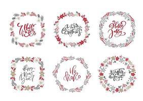 Satz von skandinavischen Weihnachtskränzen und Kalligraphie