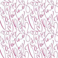 niedliches kalligraphisches nahtloses Muster des glücklichen Valentinstags