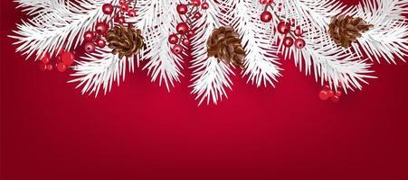 weiße Weihnachtsbaumzweige und Beeren mit Kopienraum