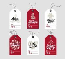 uppsättning handritade skandinaviska julelementetiketter