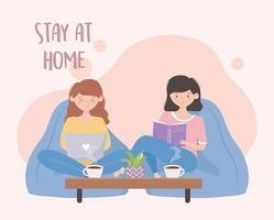 unga kvinnor i karantän hemma vektor