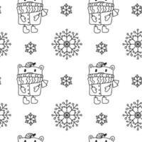 sömlösa mönster med snöflingor, björnar i hatt och halsduk