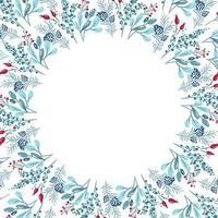 Weihnachtsrahmen mit Zweigen, Blättern und anderen Elementen