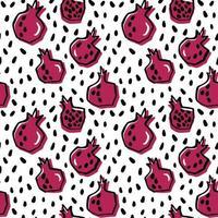 handritad färsk granatäpple sömlösa mönster vektor
