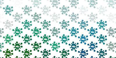 hellgrüner Hintergrund mit Virensymbolen.
