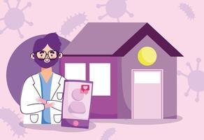 online läkarbesök koncept banner vektor