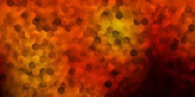 mörk orange bakgrund med sexkantiga former.