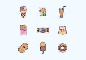 Schokolade Süßwaren & Getränke Vector Set