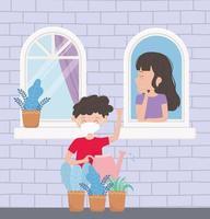 Junge, der Pflanzen und Mädchen am Fenster gießt