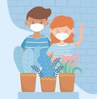 unga barn med ansiktsmasker och krukväxter