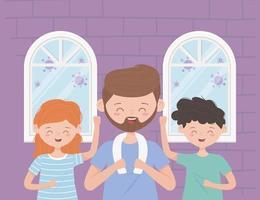 lycklig familj som tränar under koronaviruspandemin vektor