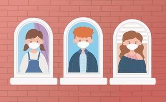 junge Leute, die Gesichtsmasken am Fenster tragen