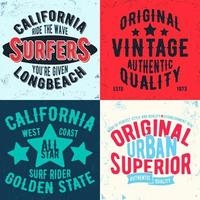 uppsättning vintage designtryck för t-shirts vektor