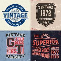 Satz Vintage-Design-Drucke für T-Shirts vektor