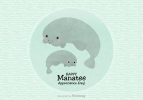 Happy Manatee Värdering Dag vektor