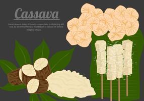 Cassava Wurzel mit Cassava Lebensmittel-Vektoren vektor