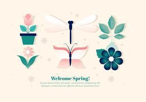 Freie Blume und Insekten Vektor Set