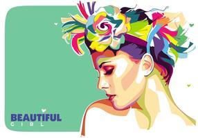 Schöne Mädchen Vektor Popart Portrait