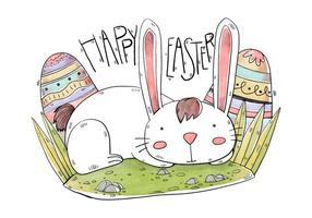 Söt kanin med ägg påskdagen vattenfärg utformar