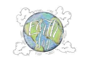 Aquarell Illustration Welt mit Tag der Erde Beschriftung Vektor