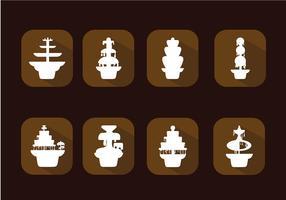 Schokoladen-Brunnen-Icon Set Free Vector
