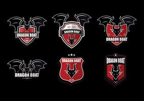 Red Dark Dragon Boat Logo Set Vector