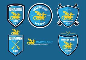 Drachenboot-Akademie Logo Set Vektor
