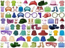 Sammlung von Mode-Outfits und Accessoires vektor