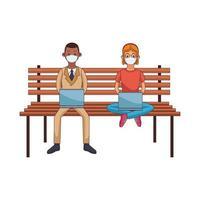Interracial Paar trägt Maske mit Technologie sitzen