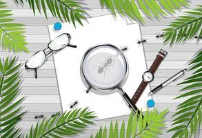 Draufsicht des Holztischs mit Blatt- und Insektenelement