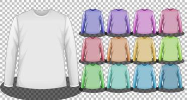 uppsättning olika färger långärmade t-shirts