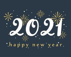 gott nytt år 2021 bokstäver banner vektor