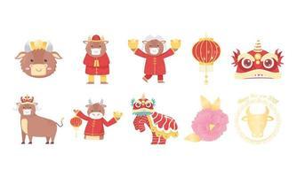 kinesiskt nyår av oxens ikonuppsättning