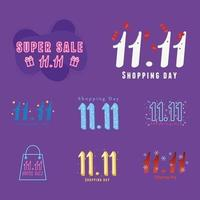 elfte november, shoppingdag promo set vektor