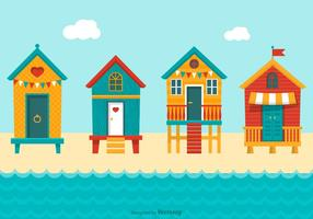 Färg Beach Huts Vector
