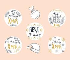 Frohe Weihnachten, runde Etikettensammlung
