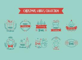 Frohe Weihnachten Label Sammlung