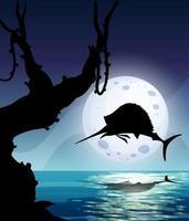 marlin fisk hoppning natur scen siluett vektor