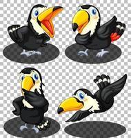 uppsättning hornbill fågel seriefigurer
